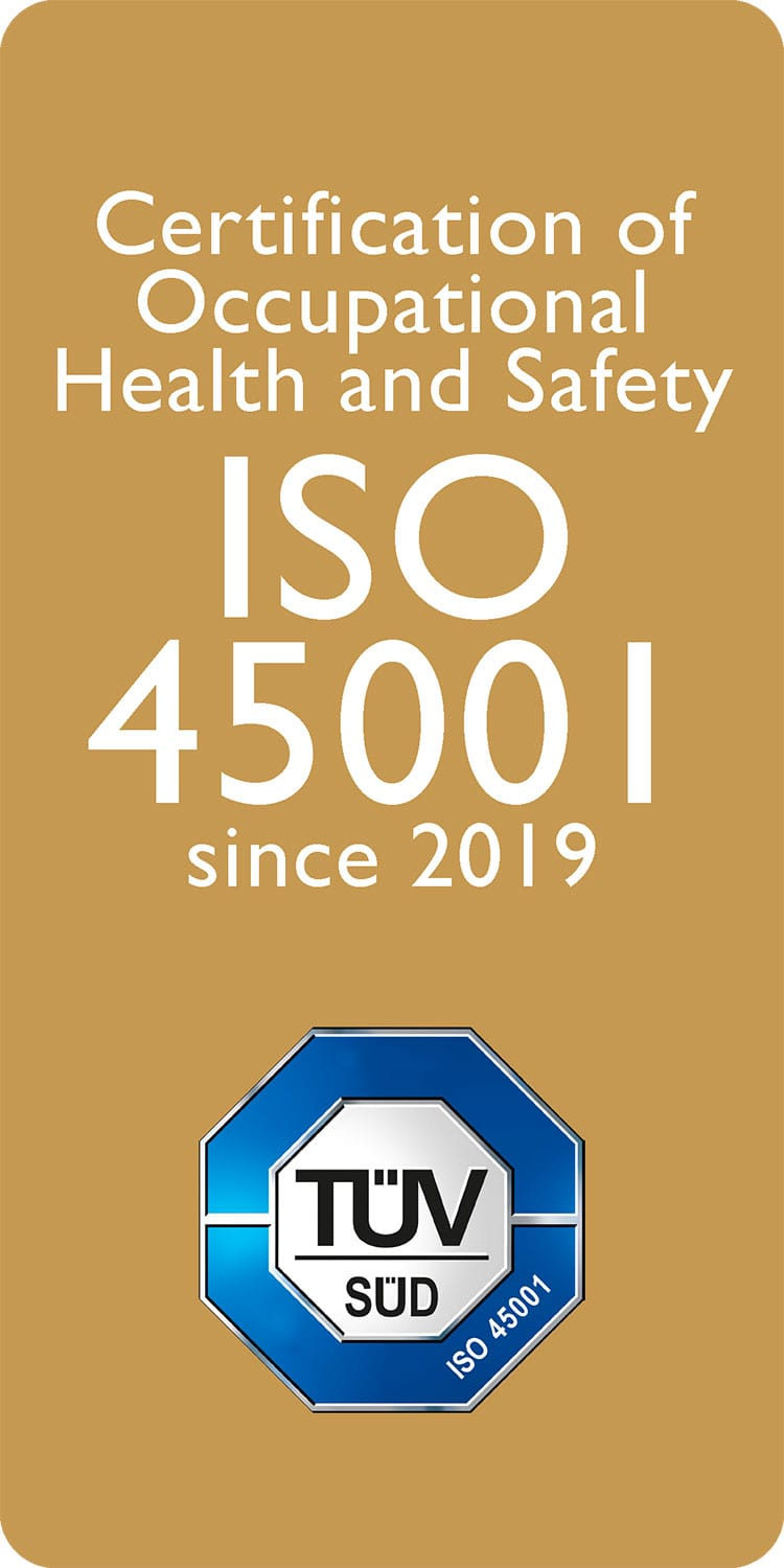 Certification of Occupational Health and Safety ISO 45001 since 2019