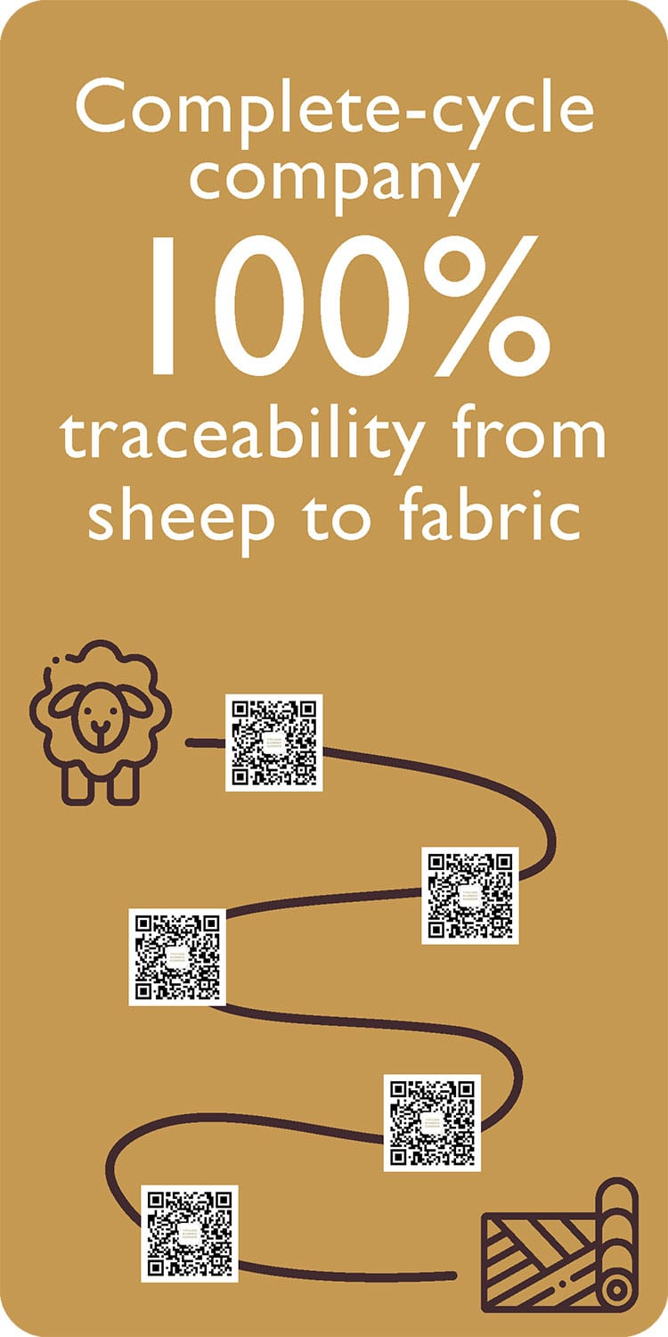 Complete-cycle company 100% traceability from sheep to fabric