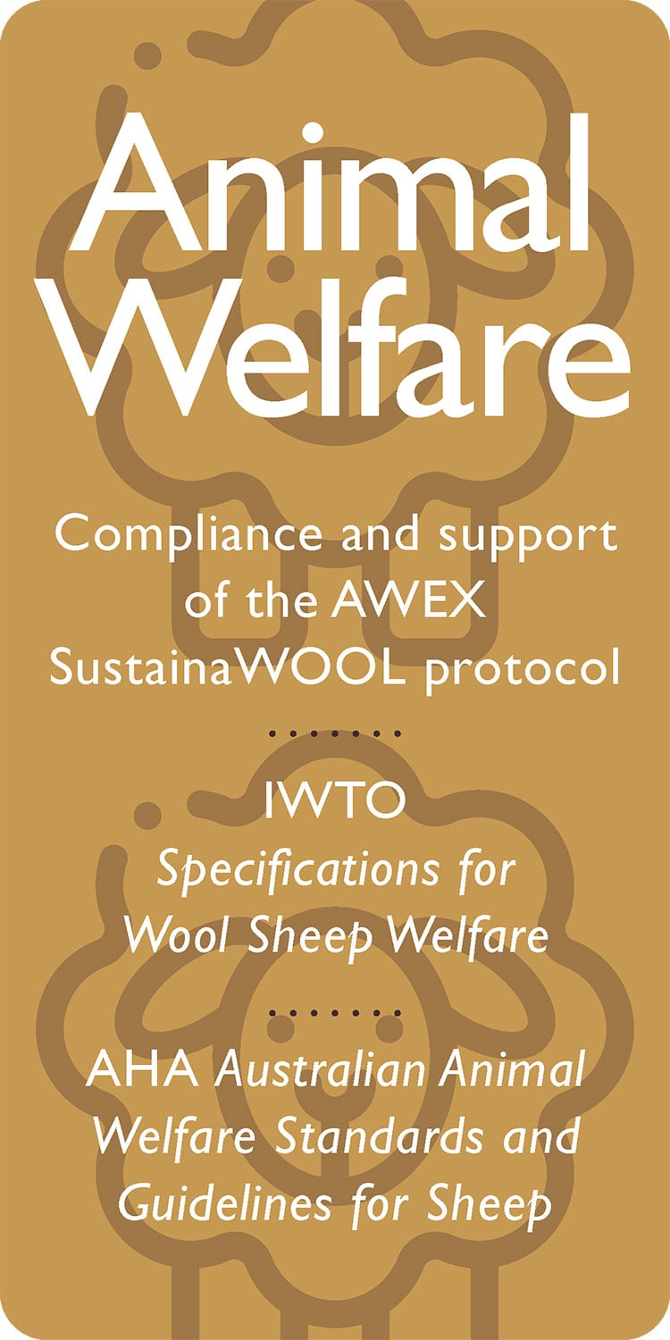 Animal Welfare: Compliance and support of the AWEX SustainaWOOL protocol IWTO Specifications for Wool Sheep Welfare AHA Australian Animal Welfare Standards and Guidelines for Sheep