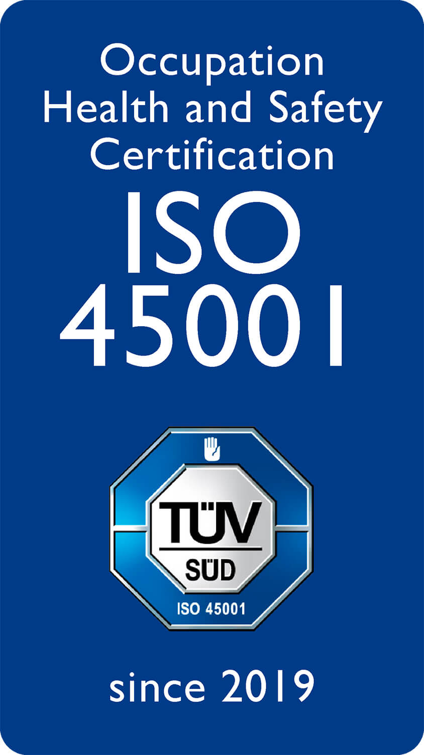 Occupation Health and Safety Certification ISO 45001 Since 2019