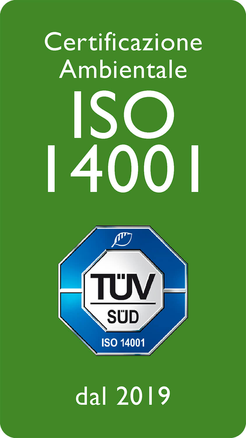 Certificazione Ambientale ISO I4001 dal 2019