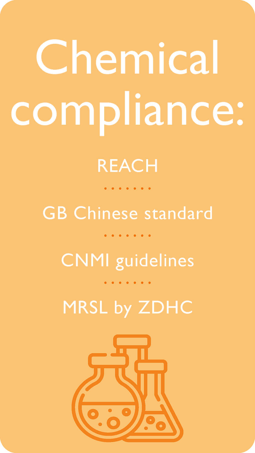 Chemical compliance: REACH, GB Chinese standard, CNMI guidelines, MRSL by ZDHC