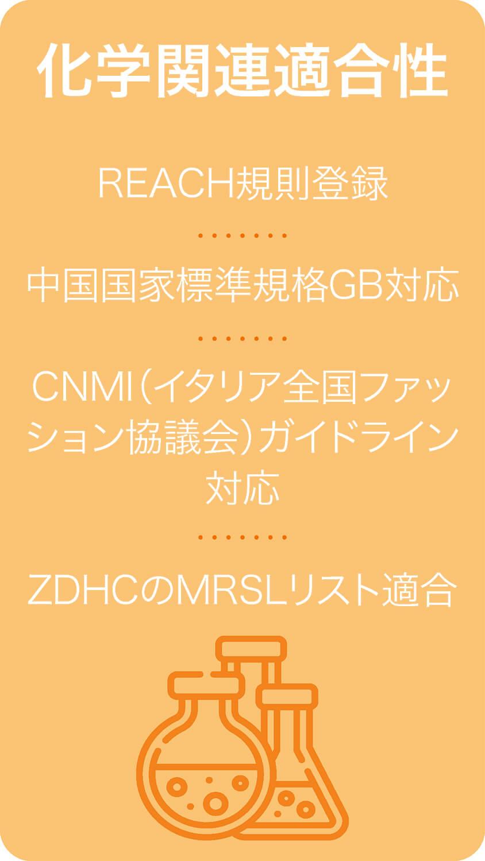 化学関連適合性REACH規則登録 中国国家標準規格GB対応CNMI(イタリア全国ファッション協議会)ガイドライン対応  ZDHCのMRSLリスト適合