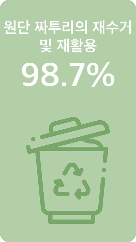 원단 짜투리의 재수거 및 재활용 98.7%